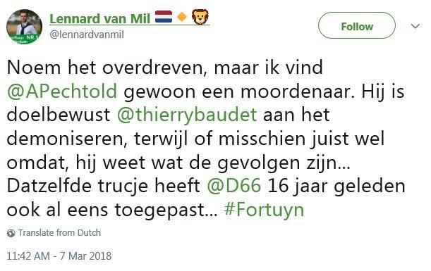tweet lennard van mil 7 maart 2018 pechtold moordenaar