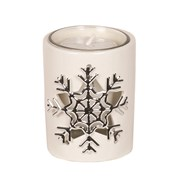 White Ceramic Snowflake Votive Holder 8cm