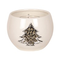 White Ceramic Christmas Tree Round Tealight Holder 8cm