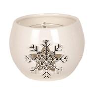 White Ceramic Snowflake Round Tealight Holder 8cm