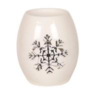 White Ceramic Snowflake Wax Melt Burner 11.5cm