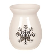 White Ceramic Snowflake Wax Melt Burner 13.5cm