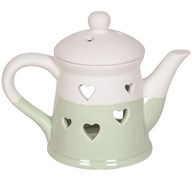 Teapot Wax Melt Burner - Green Heart