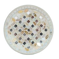 Candle Plate - Cream & Gold Metallic