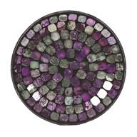 Purple Foil Metallic Mosaic Candleplate 16cm