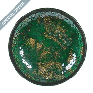 Green & Gold Crackle Mosaic Candleplate 16cm