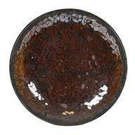 Chocolate Lustre Crackle Mosaic Candleplate 16cm