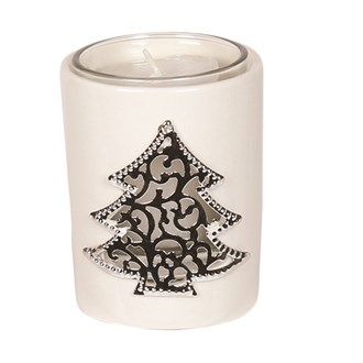 White Ceramic Christmas Tree Votive Holder 8cm