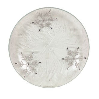 Frosted Snowflake Candleplate 16cm