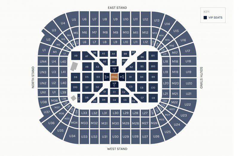 Anthony Joshua v Joseph Parker Seating Map | Anthony Joshua Hospitality | Boxing Hospitality | Principality Stadium