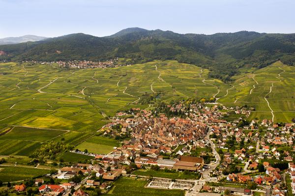 Den söta byn Eguisheim är byggd i en cirkel runt kyrkan, som så många andra små byar i Alsace.