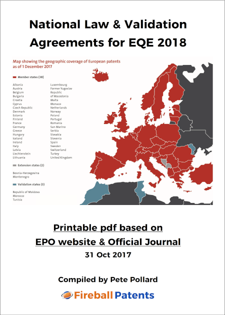 Cover National Law & Validation Agreements for EQE 2018
