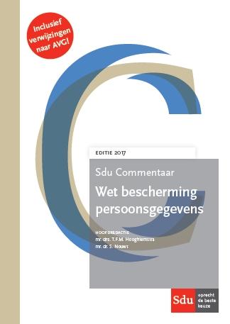 Cover Sdu Commentaar Wet bescherming Persoonsgegevens. Editie 2017