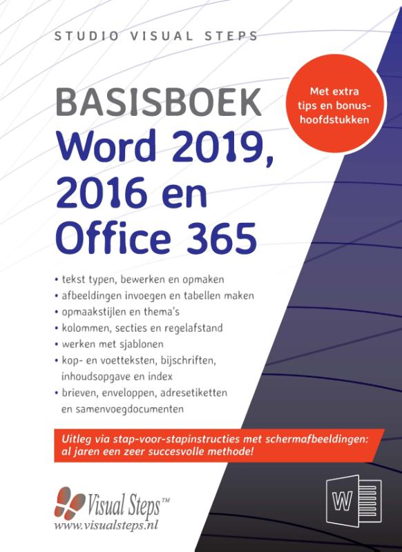 Cover Basisboek Word 2019, 2016 en Office 365
