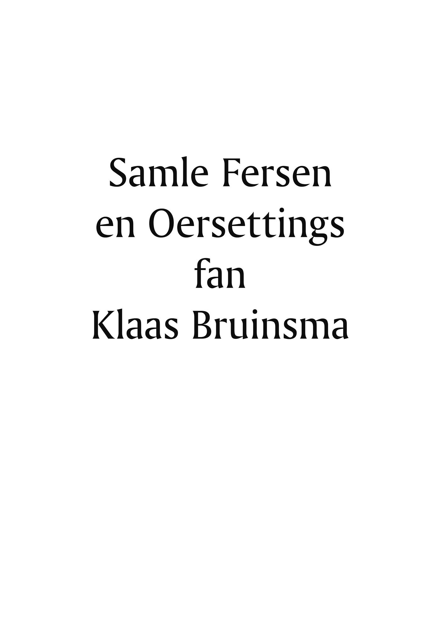 Cover Samle fersen en Oersettings fan Klaas Bruinsma