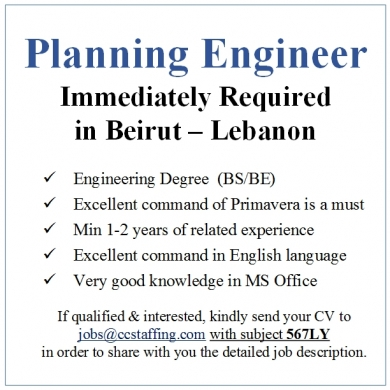 Offered Job in Choueifat - Planning Engineer