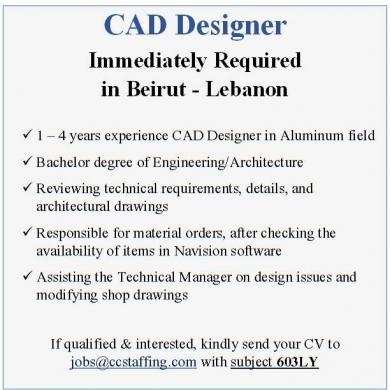 Offered Job in Beirut City - CAD Designer