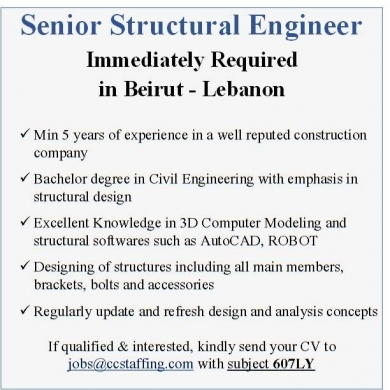 Offered Job in Beirut City - Senior Structural Engineer