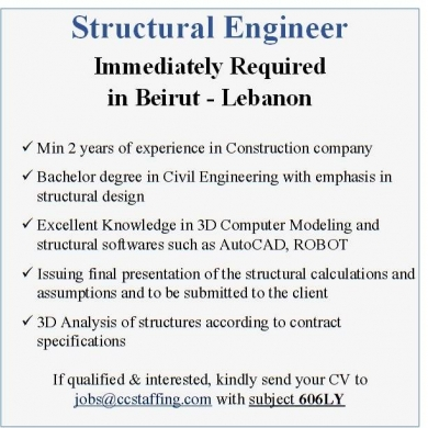 Offered Job in Beirut City - Structural Engineer