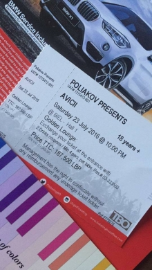 Tickets in Mar Elias - Avicii gold lounge ticket for sale