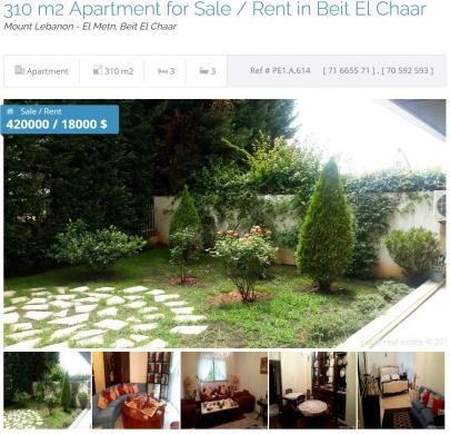 For Sale in Zalka - Ref (PE1.A.614), 270 m2 souplex  apartment having a garden for sale in Beit El Chaar