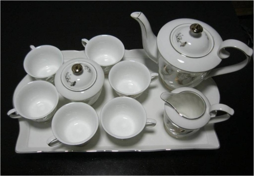 Wholesale in Beirut City - Golden Porcelain Coffee Set with Tray