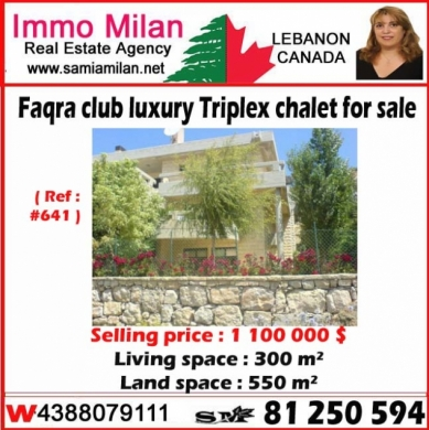 Country Houses in Mount Lebanon - Faqra club luxury Triplex chalet for sale