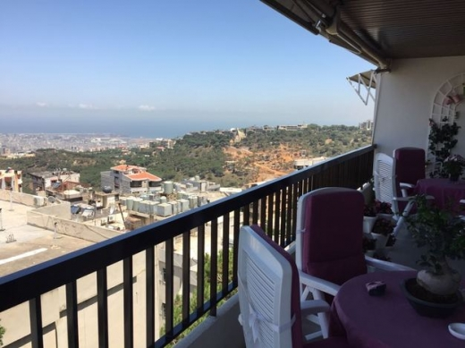 Apartment in Mansourieh - mansourieh fully furnished apartment with open sea view for rent .