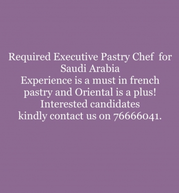 Chef de Partie in Beirut City - required pastry chef in saudi arabia