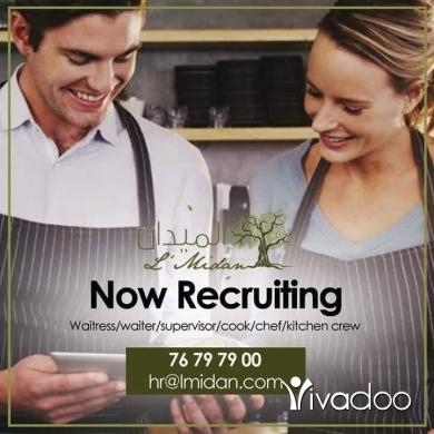 Head Waiter in Beirut City - NOW RECRUITING WAITRESS / WAITER / SUPERVISOR / COOK/ CHEF/ KITCHEN BAR