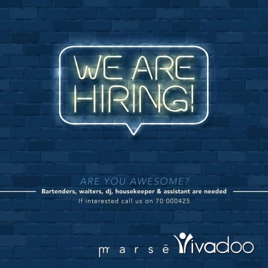 Head Waiter in Beirut City - bartenders, waiters, dj, housekeeper & assistant are needed