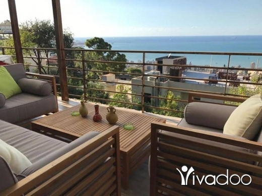 Apartments in Bkenneya - A 417 m2 apartment with a garden and terrace having an open sea view for sale in Bkenneya