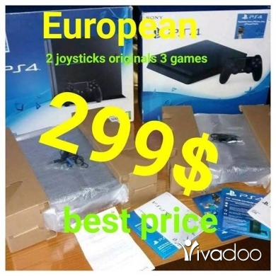 Baby Toys in Tripoli - Playstation 4 European with 2 joysticks originals and 3 games