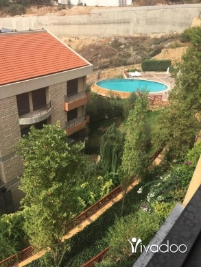 Duplex in Baabda - A 300 m2 duplex apartment with a pool having an open sea view for rent in Al jamhour