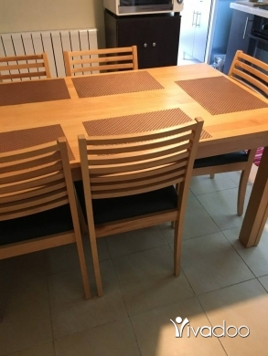 Dining Tables & Chairs in Mazraat Yachouh - Dinning table set - wood (150X90)cm with 6 chairs- Like new - price reduces for quick sale