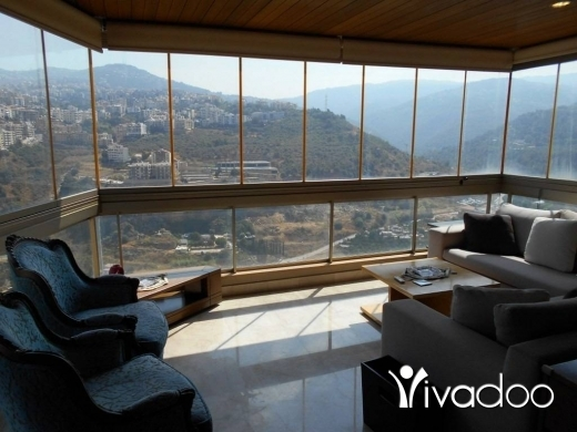 Apartments in Hazmiyeh - A furnished 230 m2 apartment with a pool having an open mountain/sea view for rent in Hazmieh