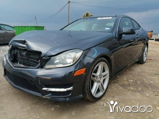 Mercedes-Benz in Tripoli - 2013 Mercedes C250 GRAY / Black, Minor Front Collision, Run & Drive, Panoramic Sun Roof, Rear View C