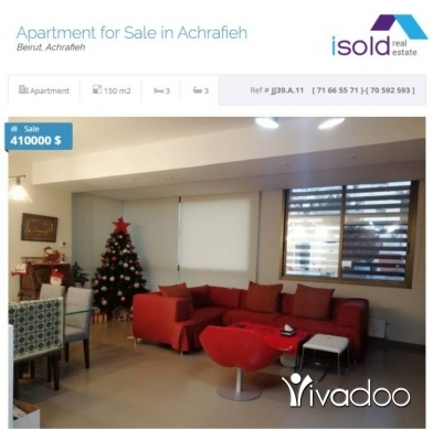 Apartments in Beirut City - A 150 m2 apartment for sale in Achrafieh