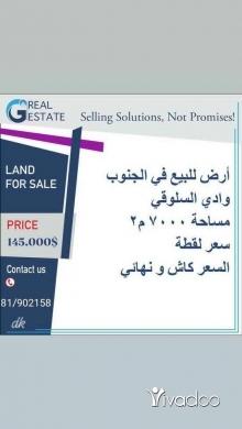 Land in Beirut City - أرض للبيع في الجنوب (وادي السلوقي)