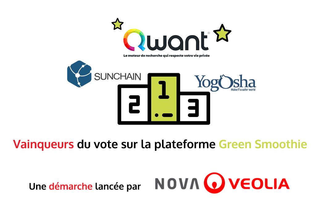 Résultat des trois start-ups élues sur la plateforme Green Smoothie