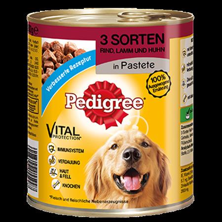 PEDIGREE® Dose Mit 3 Sorten Rind, Lamm und Huhn