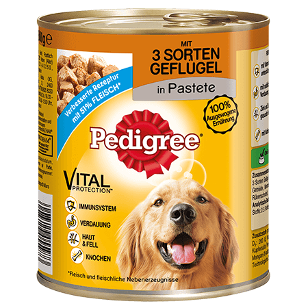 PEDIGREE® Dose Adult mit 3 Sorten Gefluegel