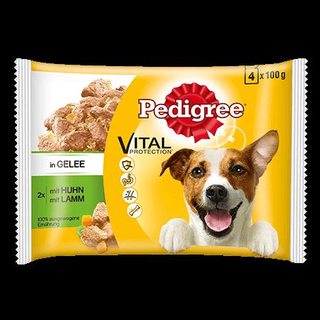 PEDIGREE® Frischebeutel Adult 4Pack mit Huhn und Lamm in Gelee