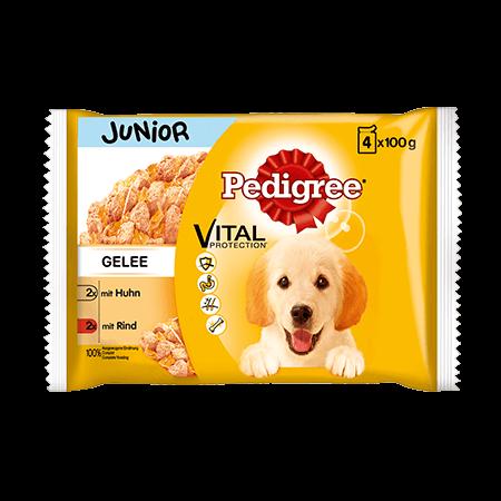 PEDIGREE® Frischebeutel Junior 4er Pack mit Huhn und Reis sowie Rind und Reis in Gelee
