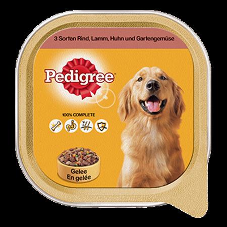 PEDIGREE® Schale Adult mit 3 Sorten Rind, Lamm, Huhn & Gartengemüse