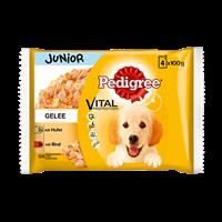 PEDIGREE Frischebeutel Junior 4er Pack mit Huhn und Reis sowie Rind und Reis in Gelee