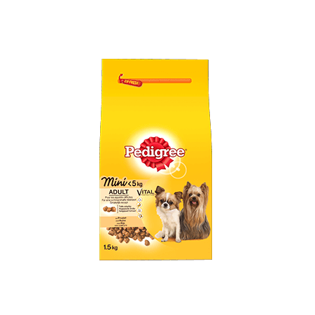 PEDIGREE<sup>®</sup> brokjes mini hond <5kg met kip 1,5kg