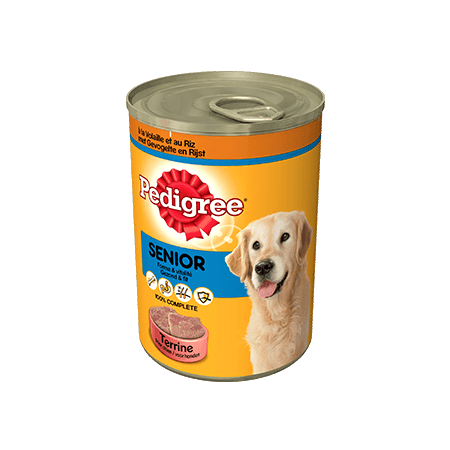 PEDIGREE<sup>®</sup> Terrine met Gevogelte en rijst voor Senior honden 410g