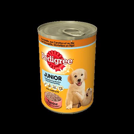 PEDIGREE<sup>&#174;</sup> Terrine met Gevogelte, Worteltjes en Rijst voor Junior honden 405g
