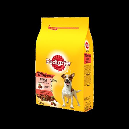 PEDIGREE<sup>®</sup> croquettes spéciales Mini chien <10kg au bœuf  1,5kg